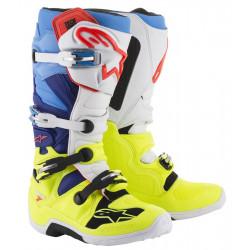 Bottes Alpinestars Tech 7 Yellow Fluo/Blanc/Blue/ Cyan 10 (44.5)