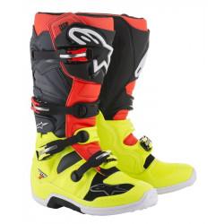 Bottes Alpinestars Tech 7 Yellow Fluo/Rouge Fluo/Gris/Noir 9 (43)